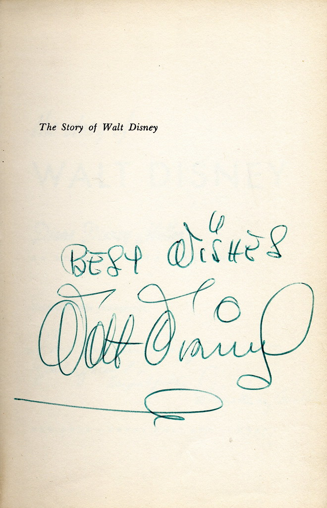Disney Biography (US edition), autographed by Walt Disney