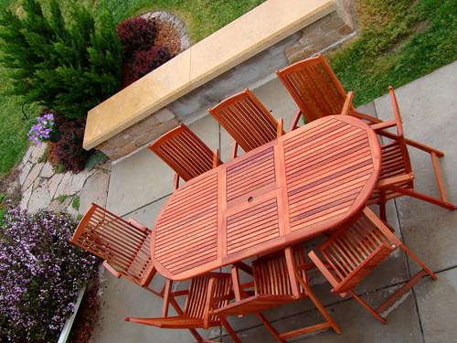 wood backyard patio todayshow teak patiodiningset hayneedle 8seat