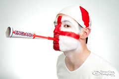Come on England! (Simon Greig Photo) Tags: red portrait white english me hat canon studio fun fan head painted headshot whitebackground supporter horn bandana spectator isolated canonefs1755mmf28isusm