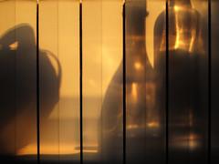 Sunset shadows (and... clicking finger) (angelocesare) Tags: light sunset orange sun reflex tramonto shadows bottles finger ombra ombre click sole riflessi radiator luce arancione bottiglie dito scatto bottiglia calorifero angeloamboldiphotos