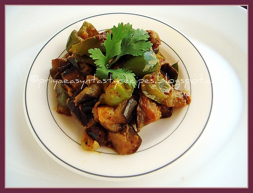 Eggplant pepper stir fry