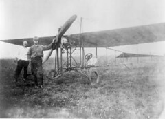 Giuseppe Bellanca (right) with his 'parasol' plane ran a flying school in Mineola, L.I., where he taught La Guardia how to fly in 1916. (La Guardia and Wagner Archives) Tags: aviation laguardia fiorellolaguardia fiorello thelittleflower mayorlaguardia