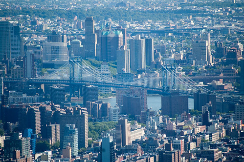 brooklyn bridge from the top of the empire state building
