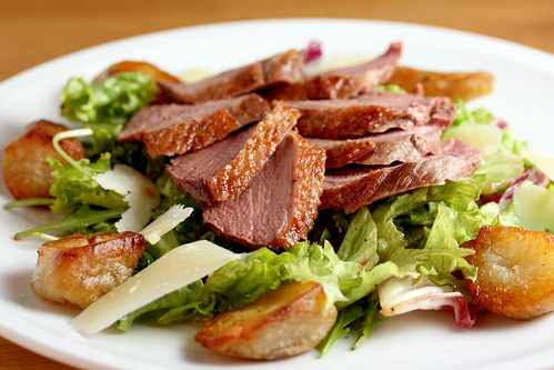 Salted duck and roast sunchoke salad