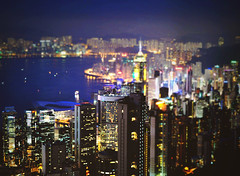 [11/52] Memorable Nights. (Jaz Q6r) Tags: blue sea night buildings hongkong lights towers excusethequality jazq6r