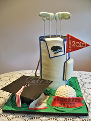 Golf Bag Graduation Cake (Cake is Life ~ Emily) Tags: blue red white green cake graduation golfball fondant golfclubs golfbag graduationcap