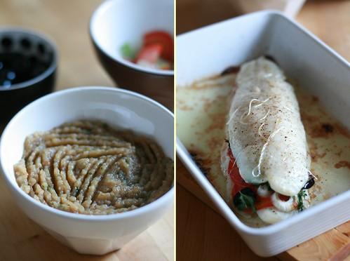Purée d'aubergine & rôti de poisson