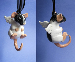 Xander (DragonsAndBeasties) Tags: pet white black angel mouse wings rat critter gift memory etsy custom ratty pocketpet beccagolins