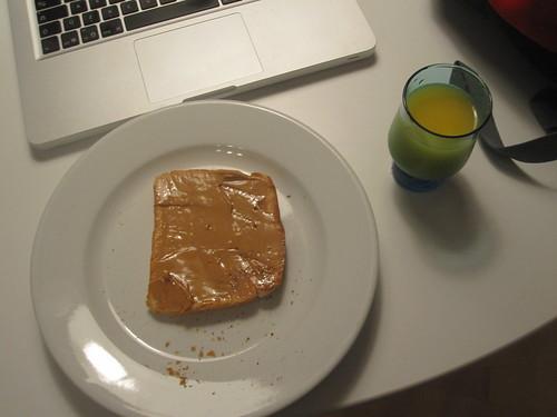 toast with PB, juice