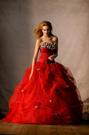 Studio Fashion, Red Brides Dress with Tulle and Flowers. Photographed by Kent Johnson.