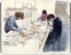 Busy drawing (Wil Freeborn) Tags: school west art moleskine sketch glasgow gray journal end alasdair maryhill hillhead
