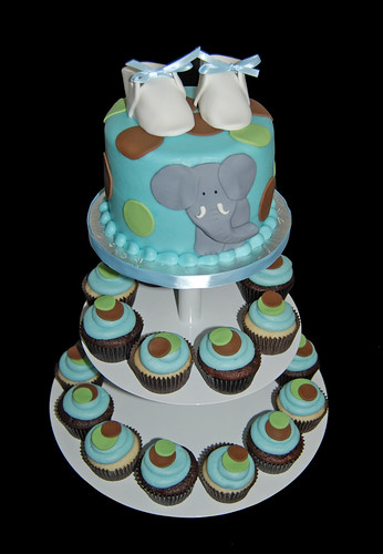 blue brown and green elephant baby shower cupcake tower