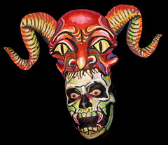 #537. Skull eating demon. (hawhawjames) Tags: art halloween face painting skeleton skull james paint artist mask body head makeup horns satan demon devil kuhn
