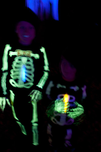 Dancing skeletons in the black light