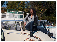 Lauren - Reconcile (jfinite) Tags: autumn fall beauty fashion sweater model photoshoot boots jeans junkyard