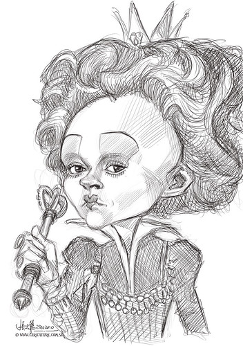 digital caricature sketch of Helena Bonham Carter as The Red Queen