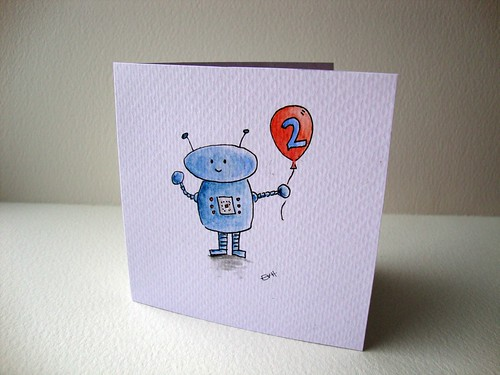 Robot 2nd Birthday Card