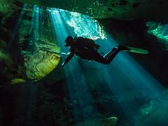 Silhouettes & Beams (altsaint) Tags: 714mm chacmool gf1 mexico panasonic cavern caverndiving cenote scuba underwater
