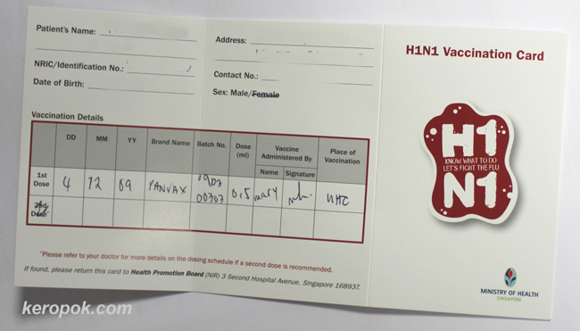 H1N1 Vaccination card
