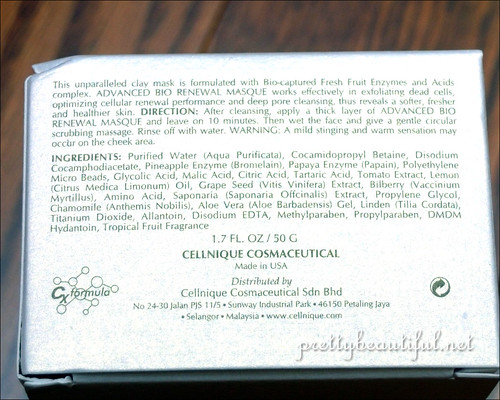 Cellnique Advanced Bio Renewal Masque Ingredients