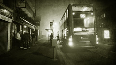 Fog in suburbia (Che-burashka) Tags: urban blackandwhite bw mist bus london monochrome weather fog night jump pub documentary bn stop suburbs bexley cinematic 4g londonist lx3 locallondon urbanlyric gettyskn gettyskngroup