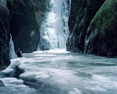 Apparently crazy is contagious (Zeb Andrews) Tags: winter film ice oregon landscape frozen waterfall hiking pacificnorthwest icy columbiarivergorge pentax6x7 oneontagorge bluemooncamera kodakektar100 zebandrewsphotography