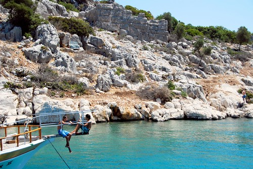 swimming in the deep blue mediterranean, kas boat trip