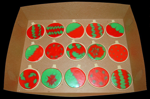 holiday glace sugar cookies red and green