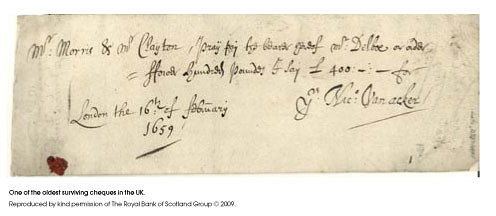 Oldest surviving cheque in britain