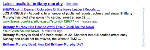 brittany murphy - real time results