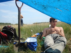 Tom taking a break (EuCAN Community Interest Company) Tags: poland 2009 eucan milicz baryczvalley