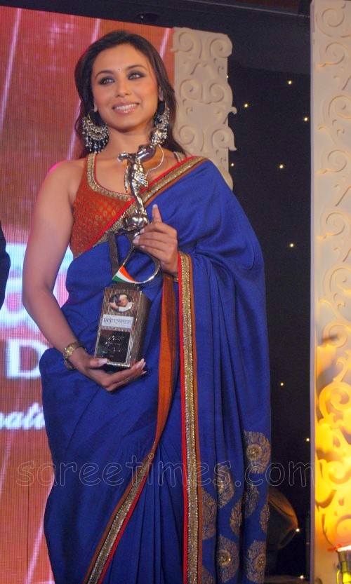 Rani-Mukherjee-Blue-Saree