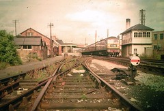 1960s Fishponds Station, looking towards station from south west (Bristol) - diesel loco (emmdee) Tags: station bristol railway 1960s slides oldslides fishpondsstation