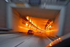 suburban vortex (pbo31) Tags: california longexposure orange vortex motion blur night speed dark moving movement lowlight nikon highway december driving infinity tunnel motionblur newyearseve eastbay orinda d200 2009 westbound castlegate caldecotttunnel highway24 oaklandhills windowclip