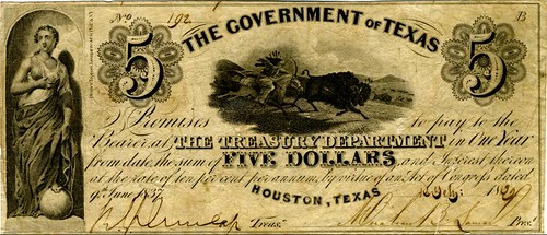 Fig 9.6, $5  Engraved Note, 1839, The Government of Texas