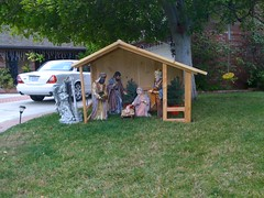 Nativity on a neighbour's lawn... (Eleventh Earl) Tags: men joseph gold star three inn sheep god donkeys no room jesus jimmy straw son kings wise manger hay jebus conception shepherds immaculate myrrh frankincense jizzus jibbus