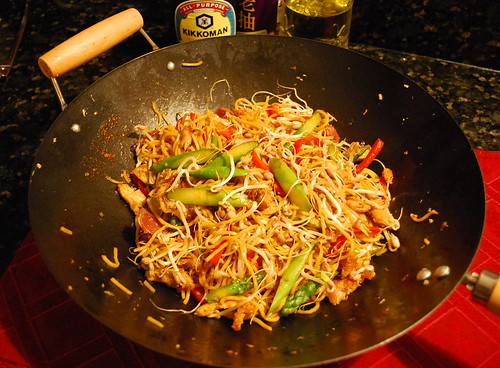 Stir-Fried Lo Mein with homegrown bean sprouts