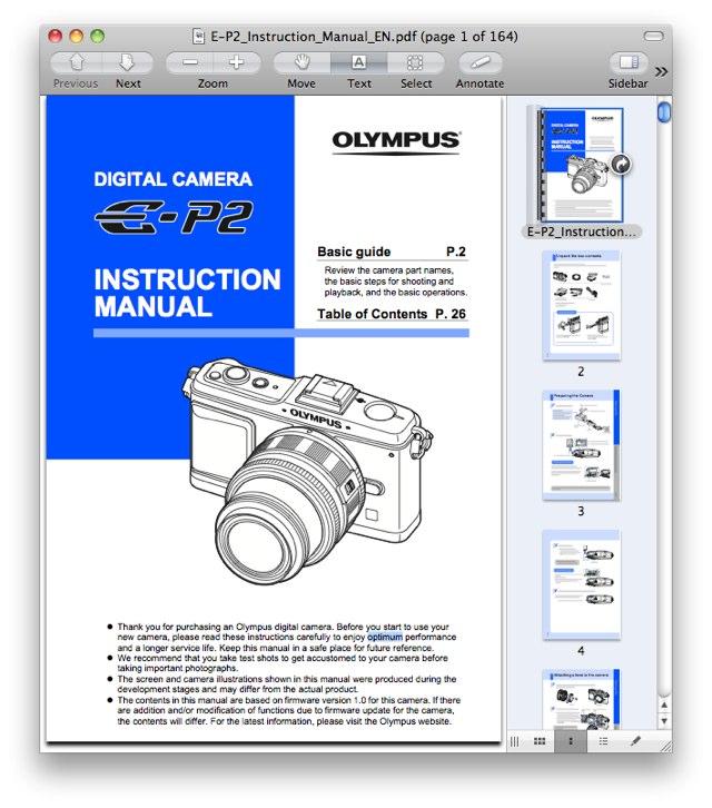 Olympus E-P2 Manual