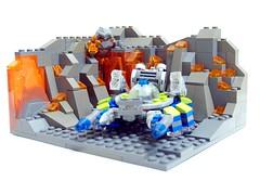 Cave Crawler (Drizdar) Tags: blue green wheel rock lava power lego monsters miners npu