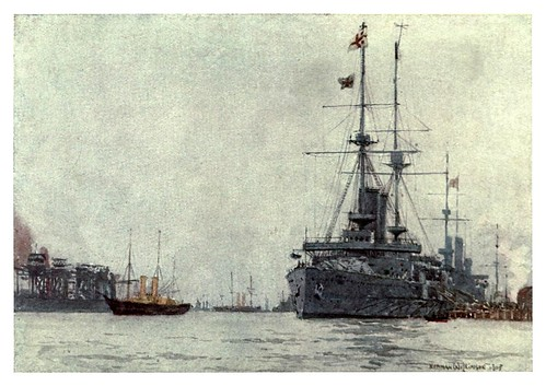 019- HMS Albemarle junto al embarcadero del ferrocarril en Portsmouth-The Royal Navy (1907)- Norman L. Wilkinson