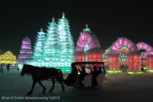 Ice Sculpture Sleigh Ride, Harbin