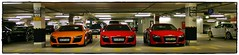 Three beautiful Audi R8 in an underground garage (Klife1 Photography) Tags: red orange rot vw munich mnchen spider spyder special audi rare 42 v8 v10 52 rs4 r8 fsi rs6 horch s8 ingolstadt sportwagen neckarsulm