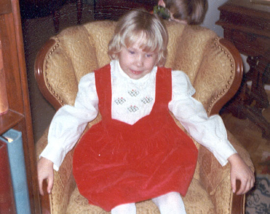 Alyce in Her Red Velvet Dress (Click to enlarge)