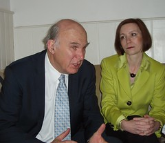 Vince& Bridget chat business (Caledonian Lib Dems) Tags: shadow for with dr vince cable bridget business fox brunch local mp joined representatives