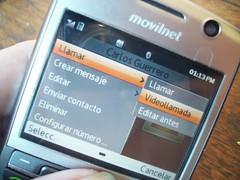 Menu para realizar videollamadas en el Huawei U9105