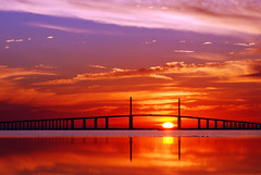 Tampa Bay (Michael Skelton) Tags: birthday reflection water sunrise bay still tampabay florida saintpetersburg ftdesoto sunshineskywaybridge michaelskelton michaeldskelton michaeldskeltonphotography