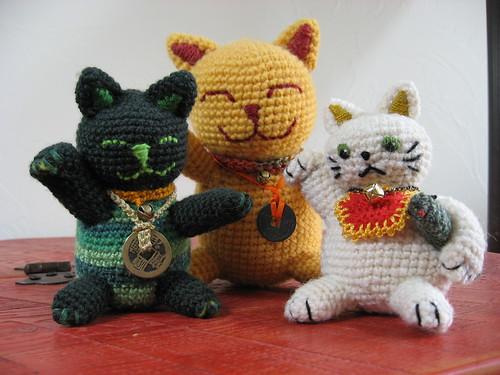 Three Crocheted Maneki Neko Cats