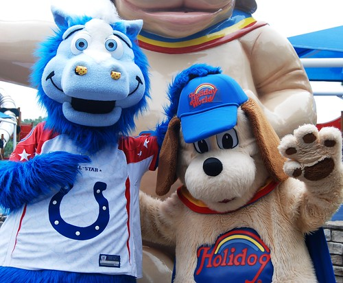 The Colts' mascot, Blue, pals around with Holidog.