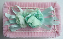 Target Tuesday: Frou-frou Jewelry Box (such pretty things) Tags: old pink flowers green vintage ruffles lace pastel mint ribbon trim embellished reproduction pleats millinery shabbychic targettuesday roseroses