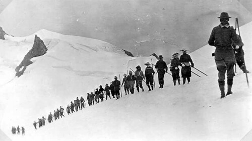 Mountaineers climbing in snow, Mount Olympus